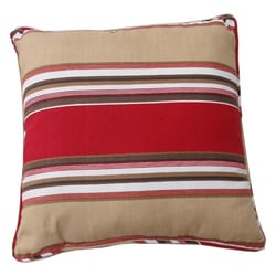 Brushed Twill Cotton Stripe Red/ Khaki Throw Pillows (Set of 2)