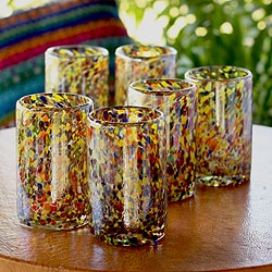Hand Blown Set of 6 Multicolor Glasses Carnival Tumblers (Mexico) 7777598