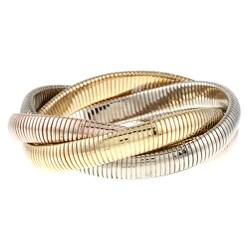 Celeste 18k Overlay Tri-tone Gold Interlocked Omega Stretch Bracelet