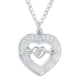 Sterling Silver Diamond Accent April Birthstone Heart Necklace