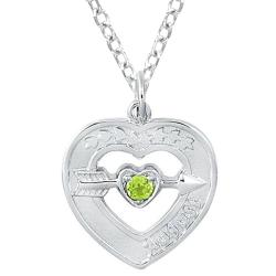 Sterling Silver August Birthstone Created Peridot Heart Necklace
