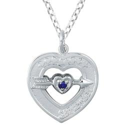 Sterling Silver September Birthstone Created Sapphire Heart Necklace