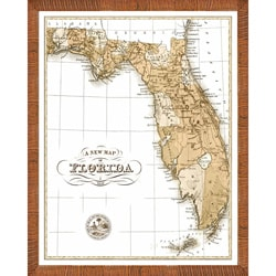 'Map of Florida' Framed Print