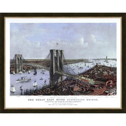 'Brooklyn Bridge Cityscape' Framed Print