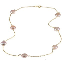 Gold over Silver Pink Freshwater Coin Pearl Tin Cup Necklace (9-10 mm) 7821071