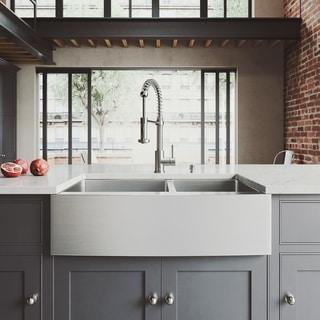 Vigo Farmhouse Stainless Steel Kitchen Sink/ Faucet/ Dispenser/ Two Grids