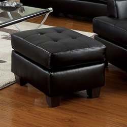 Black Bonded Leather Ottoman