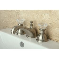 Crystal Handle/ Satin Nickel Widespread Bathroom Faucet