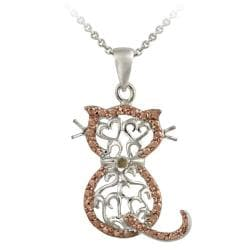 Rose Gold over Silver Champagne Diamond Accent Filigree Cat Necklace