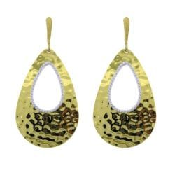 Gold over Silver Hammered Tear Drop Earrings