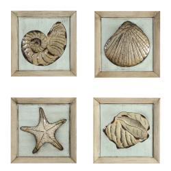 Wall art - 14in. x 14in. Metal Plaque of Sea Shells (set of 4)