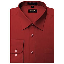 Men's Wrinkle-free Apple Red Dress Shirt (As Is Item)