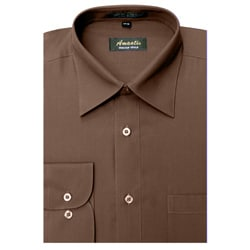 Men's Wrinkle-free Brown Dress Shirt