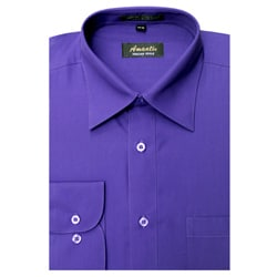 Amanti Men's Wrinkle-free Purple Dress Shirt