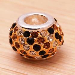 Crystal Rhinestone Gold and Clear Charm Bead