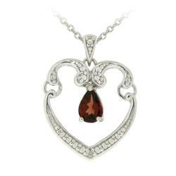Glitzy Rocks Sterling Silver Garnet and Diamond Accent Heart Necklace