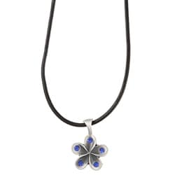 Fine Grade Pewter Petals Blue Crystal Necklace