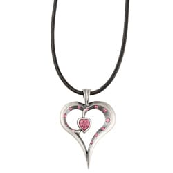 Fine Grade Pewter Romy Pink Crystal Heart Necklace