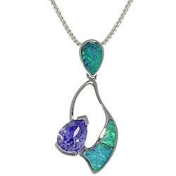 CGC Sterling Silver Created Opal and CZ Free Form Necklace