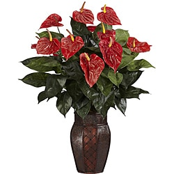 Anthurium with Vase Silk Plant 7906019