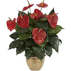 Anthurium with Ceramic Vase Silk Plant 7906020