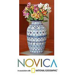 Ceramic 'Blue Kaleidoscope' Vase (Mexico)