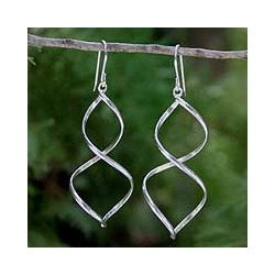 Sterling Silver 'Helix' Dangle Earrings (Thailand)