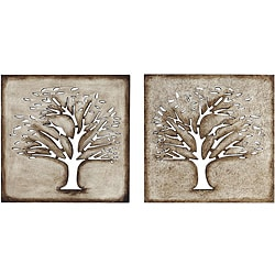 Wood Crafted Tree Wall Art (Set of 2)