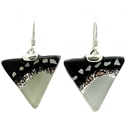 Sterling Silver Black and White Flecks Triangle Glass Earrings (Chile)