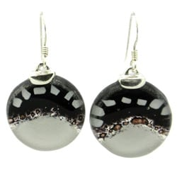 Sterling Silver White to Black Fused Glass Earrings (Chile)