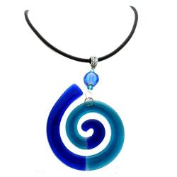 Cotton Cord and Blue Fused Glass Big Swirl Necklace (Chile)