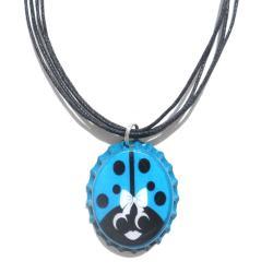 Turquoise and Yellow Ladybug Bottle Cap Necklace