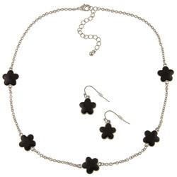 Silvertone Black Enamel 16-inch Daisy Necklace and Earring Set