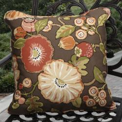 Kate Indoor Outdoor Brown Floral Pillows Made With P Kaufmann Fabric Set Of 2 image