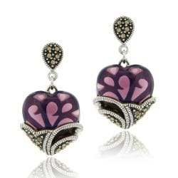 Glitzy Rocks Sterling Silver Purple Glass and Marcasite Heart Dangle Earrings