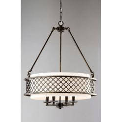 Lux Bronze 4-light Beige Pendant Chandelier