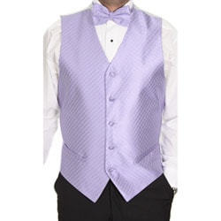 Ferrecci Men's Lavender Patterned 4-piece Vest Set