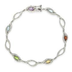 Glitzy Rocks Sterling Silver Multi-gemstone and Diamond Bracelet 7987026