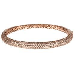 Sterling Silver Rose Goldtone Cubic Zirconia Bracelet