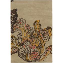 "Hand-Tufted Hiroshi New Zealand Wool Floral Rug (5' x 7'6"")"