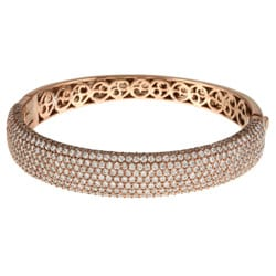 Rose Gold over Sterling Silver Clear Cubic Zirconia Bangle Bracelet