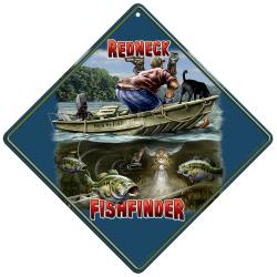 Rico Industries Redneck Fishfinder Metal Crossing Sign