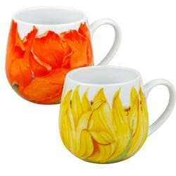 Konitz Poppy and Sunflower Blossoms Snuggle Mugs (Set of 2) 8002003