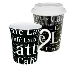 Konitz Black Coffee to Stay/ Coffee to Go Cafe Latte Writing Mugs (Set of 2) 8002018