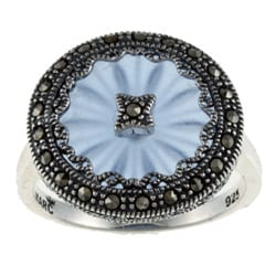 MARC Sterling Silver Sapphire Sunray Crystal and Marcasite Ring 8004122