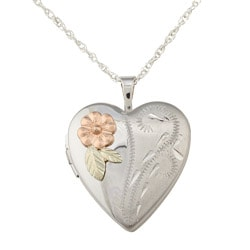 Black Hills Gold and Siilver Heart-shaped Flower Locket