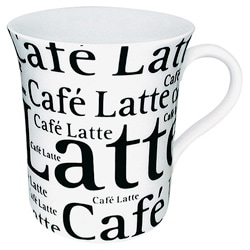 Konitz Mugs 'Cafe Latte Writing' On White (Set of 4) 8005272