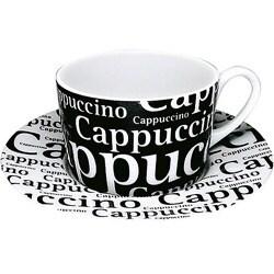 Konitz Cappucinos Writing On Black Cup/ Saucer (Set of 4) 8016061