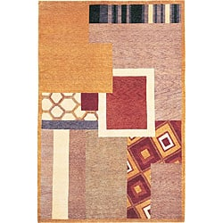 ABBYSON LIVINGHand-Knotted 'Destiny' Geometric-Print Gold Wool Rug (6' x 9')