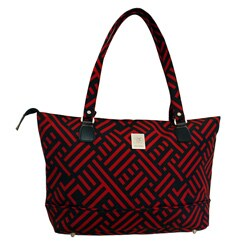 Jenni Chan Black and Red Signature 17-inch Computer Tote
